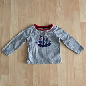 Baby Boden Gray Boat Shirt 6-12 Months